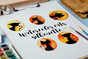 Watercolor cat silhoettes