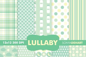 Baby Lullaby Green Digital Papers