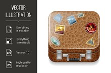 Leather suitcase with stickers