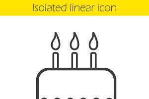 Birthday cake linear icon. Vector