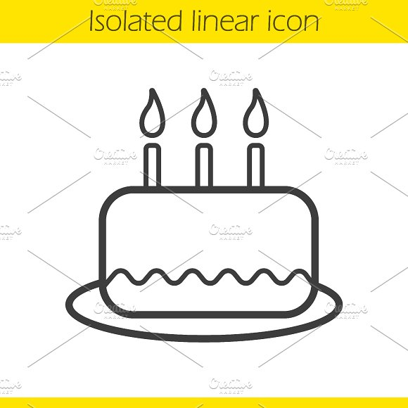 Birthday cake linear icon. Vector - Icons
