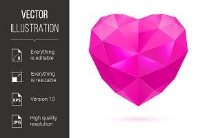 Pink polygon heart