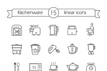 Kitchenware. 15 icons. Vector