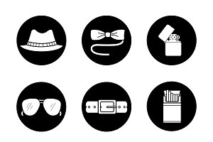 Men's accessories. 9 icons. Vector
