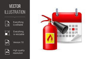 Fire extinguisher and calendar