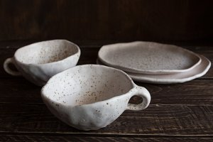 set of white pottery