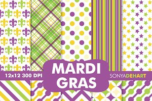 Mardi Gras Digital Paper Patterns