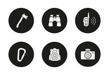 Camping. 9 icons. Vector