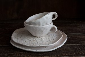 white pottery in brown speckled