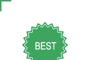Best green sticker icon. Vector