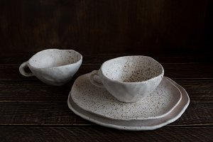 plates and cups from clay