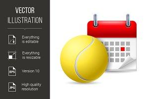 Tennis ball and calendar