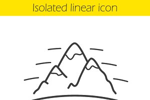Mountains linear icon. Vector