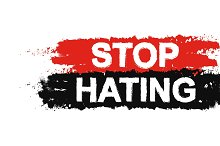 Stop hating grunge sign. Vector