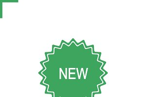 New green sticker icon. Vector
