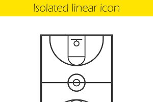 Basketball field linear icon. Vector