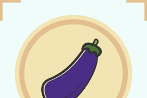 Aubergine color icon. Vector