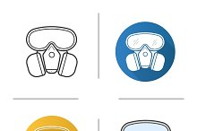 Gas mask. 4 icons. Vector