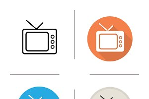 TV set. 4 icons. Vector