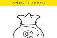 Money bag linear icon. Vector