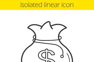Money bag linear icon. Vector