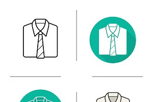 Shirt and tie. 4 icons. Vector