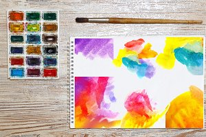 Set 24 JPG and PNG watercolors.