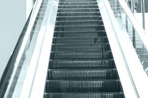 Empty escalator steps