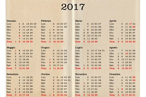 Year 2017 calendar - Italy