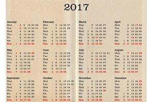 Year 2017 calendar - United Kingdom