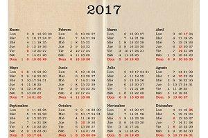Year 2017 calendar - Spain