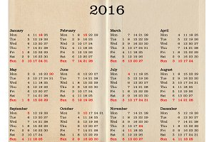 Year 2016 calendar - United States of America
