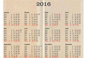 Year 2016 calendar - France