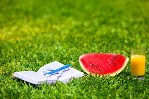 Summer and fresh theme: red ripe slice watermelon and glass of orange juice on green grass