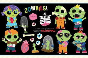 Cute Zombies Vector Illustrations