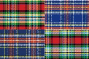 Set seamless pattern Scottish tartan