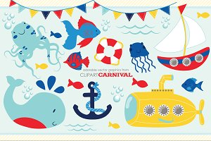 Nautical Baby Sailboat Illustrations