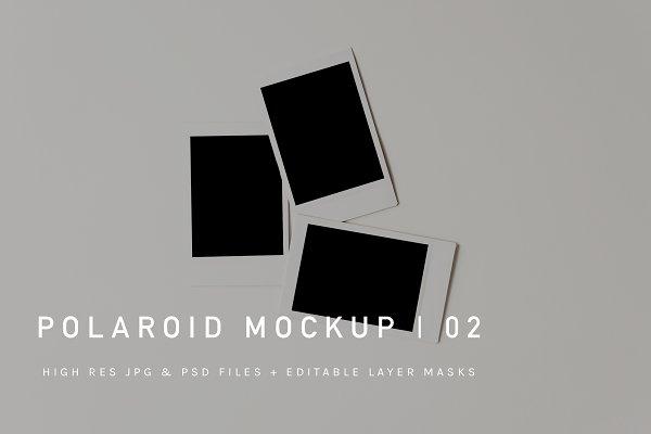 Polaroid Pile Mockup | JPG & PSD