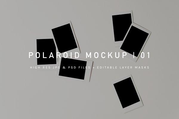 Polaroid Pile Mockup | PSD & JPG