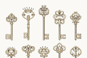 Vector antique keys icon set