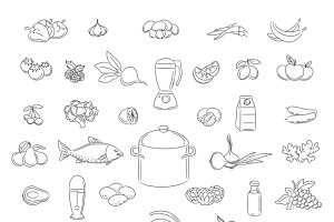 Food doodle icons set