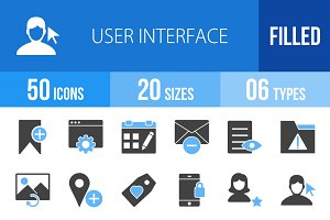 50 User Interface Blue & Black Icons