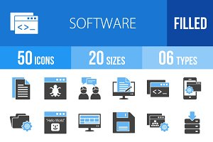 50 Software Blue & Black Icons