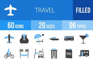 60 Travel Blue & Black Icons