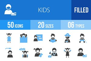 50 Kids Blue & Black Icons