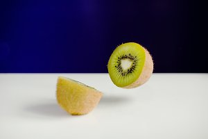 Kiwi Fruit Sliced Flying