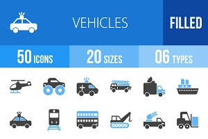 50 Vehicles Blue & Black Icons