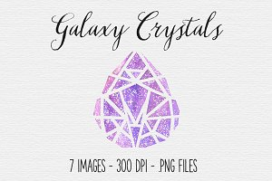 Watercolor Galaxy Crystal Clipart