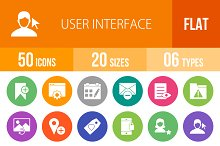50 User Interface Flat Round Icons