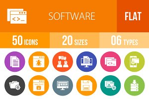 50 Software Flat Round Icons